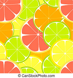Citrus seamless - Citrus slices seamless pattern. Vector...