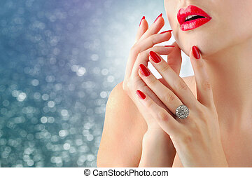 Red lips and manicure - Lady over blue background