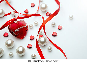 Design a greeting card Happy Valentines Day with red ribbon and  jewelry heart