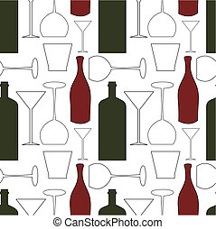 Wine pattern - Wine bottles and glasses - seamless pattern...