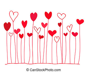 Hearts background - Funny doodle red hearts on stems. Vector...