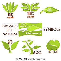 Eco logos - Set of eco and organic symbols and icons for...