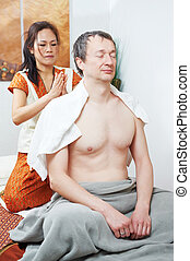 Traditional thai massage health care back kneading -...