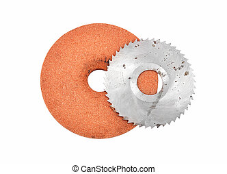 Grinding disc and circular saw blade, isolated on white background