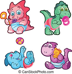 cute baby vector dino set