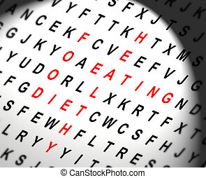 Healthy eating concept - Illustration depicting a wordsearch...