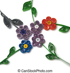 Quilling flowers on a white background