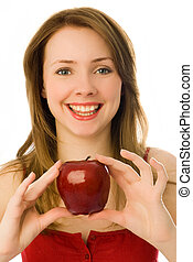 beautiful woman with an apple - beautiful smiling young...