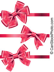 Vector set of different types of pink satin ribbons with...