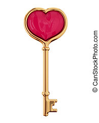 Golden key with a little heart inside. 3D rendered. Isolated...