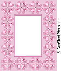 Cross stitch frame - Cross-stitch frame in shades of pink...