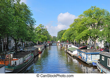 Amsterdam. Prinsengracht canal - One of the major canals of...