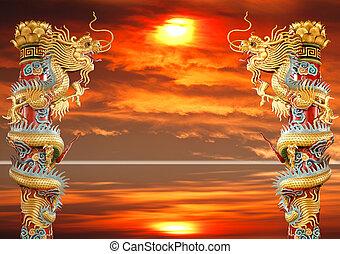 arany-, ikergyermek, kínai, sárkány
