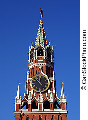 Red clock tower - Red Clock tower of Moscow Kremlin, Russia...