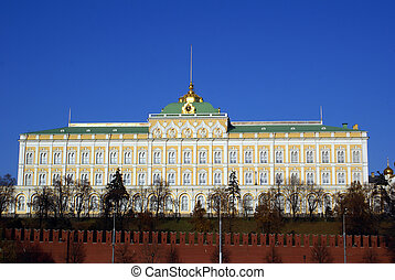 Big Kremlin palace and red walls - Big Kremlin palace and...