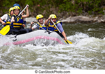 People whitewater rafting - Group of five people whitewater...