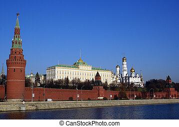 Kremlin - Moscow Kremlin red wall and river, Russia...