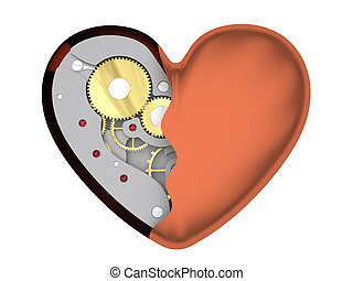Mechanical heart isolated on white background