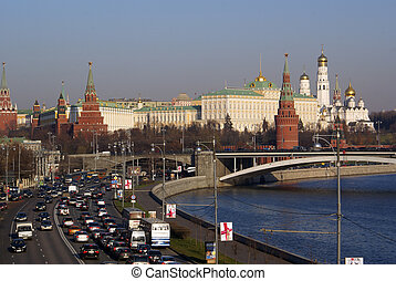 River, bridge and Kremlin, Moscow
