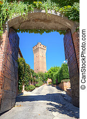 Ancient tower in Santa Vittoria D'Alba, Italy. - Vertical...