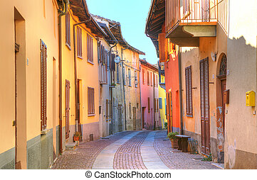 Street of Serralunga D'Alba. Piedmont, Italy. - Narrow paved...