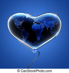 Blue earth heart. 3d render