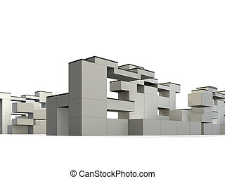 Constructivism and Minimalism - 3d rendered exterior,...