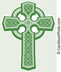 Celtic Cross - An icon of a green celtic style cross
