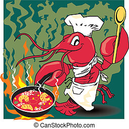Crawfish Chef - Crawfish cooking a flaming meal of shrimp...