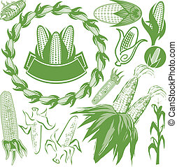 Corn Collection - Various styles of corn-themed clip art and...