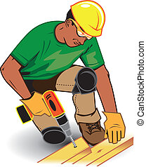 Construction Worker - Worker with hard hat, safety glasses...