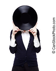 Girl with vinil disc on white background