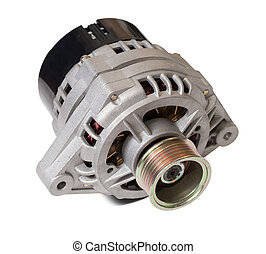 automotive power generating alternator. Isolated on white...