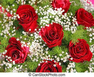 背景, 緑, 群葉, 新たに, 白, 花, 赤