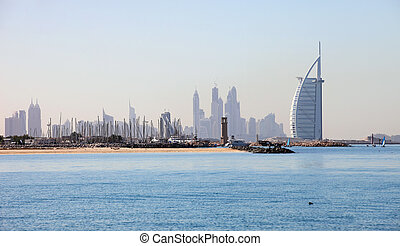 View of Burj Al Arab Hotel from Jumeirah beach - View of...