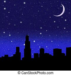 Crescent Moon over a city - Black night sky plenty of stars...