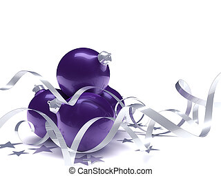 Christmas toys, stars and ribbons on a white background