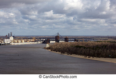 Dnepr river, Kiev - Kiev bussines and industry city...