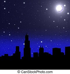 Moon over a city - Black night sky plenty of stars with Moon...