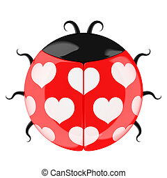 Cute lady bug. Valentine's gift symbol. Isolated on white...
