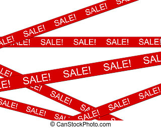 Red SALE ribbon Isolated on white background