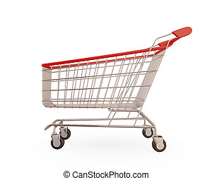 Shopping trolley isolated on white background3d rendered