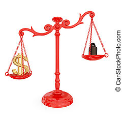 Scales of justice with dollar sign