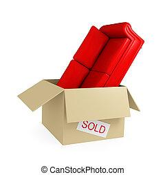 Red sofa in big cardboard box.