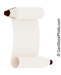 Ancient scroll. Isolated on white background. 3d rendered.