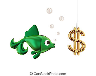Dollar bait - Dollar bait on a hook and a fishIsolated on...