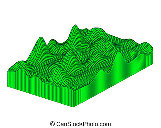 Topografic 3d grid - Topographical 3d map Isolated on white...