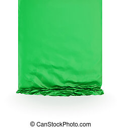 Green silk drapery. Isolated on white background.3d...
