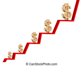 Earnings growth diagram concept Isolated on white3d rendered...