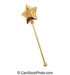 Golden magic wand. Isolated on white background.